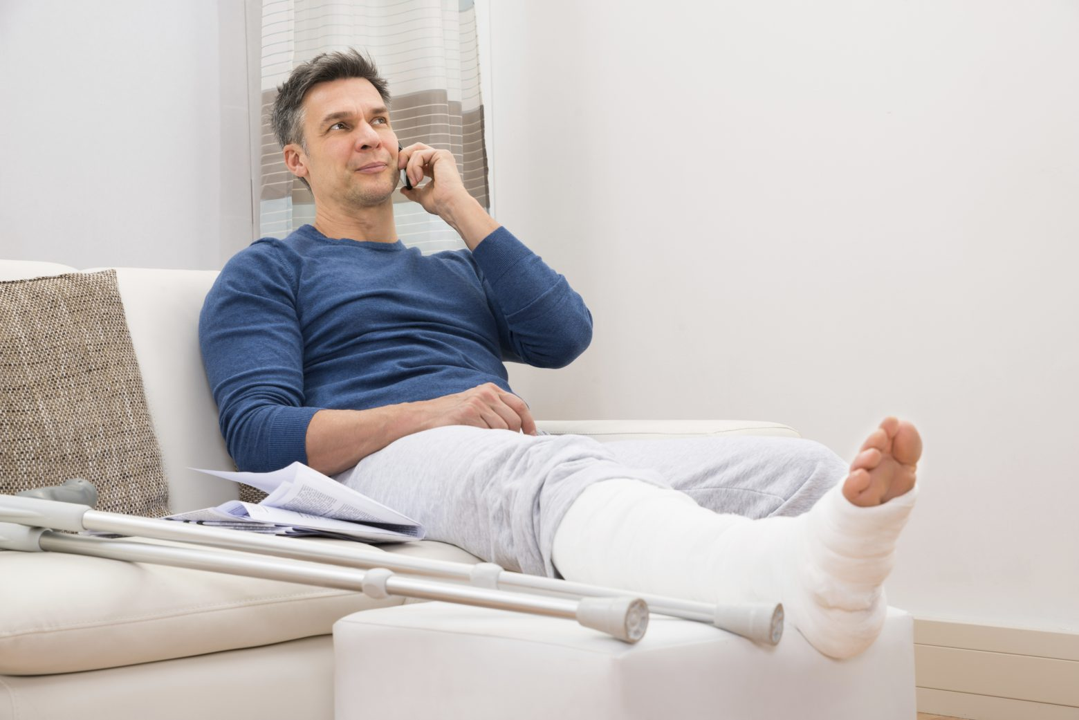 Injured man on the phone
